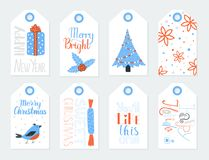 Gift Tags for New Year vector set. Bright set of gift tags for Christmas and New Year celebration. Vector illustration Stock Image