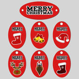 Gift tags. Set of six vector christmas labels. Royalty Free Stock Photos