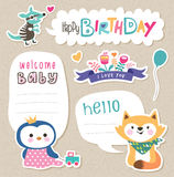 Gift tags & stickers. Stickers/ Gift tags with cute animals and text box for your message Royalty Free Stock Images