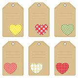 Gift tags for Valentines Day. Set of gift tags with stitched hearts Stock Image