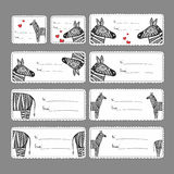 Gift tags with zebras Stock Photography