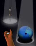 The gift of technology 2. The Globe, a hanging key lit by spotlights an outstretched hand holds a electronic chip Royalty Free Stock Image