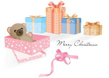 Gift with Teddy Bear and other gifts Royalty Free Stock Photography