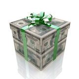 Gift with texture of dollars Stock Images