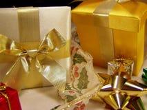Gift time. Macro of various holiday boxes, bows and ribbon royalty free stock photos