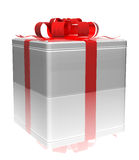 Gift tin box with a red ribbon. 3d render Stock Images