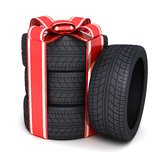 Gift tires. And ribbon (done in 3d Stock Photography