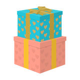 Gift to the bride and groom for the wedding from guests and loved ones. Boxes in beautiful paper.Wedding single icon  Stock Photos