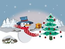 A gift to the snowman. Illustration that represents a snowman happy to have received a present for Christmas Royalty Free Stock Images