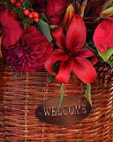 Gift to You. A beautiful floral basket as a Welcome gift to your very best friend, spouse or neighbor Royalty Free Stock Images