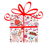Gift tor girl. Vector illustration of gift made of different pleasant presents for girl Royalty Free Stock Image