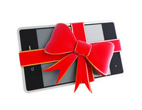Gift touchscreen phone pad. On a white background Stock Photos