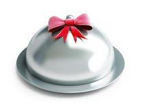 Gift tray. On a white background Stock Photos
