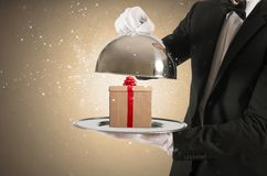 Gift in the tray Stock Photography