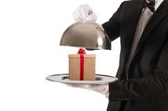Gift in the tray Royalty Free Stock Images