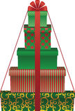 Gift tree. Vector illustration of gift boxes shaped christmas tree Stock Images