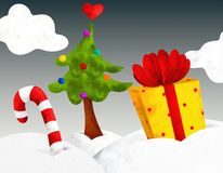 Gift and tree Royalty Free Stock Photography