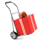 Gift and trolley Royalty Free Stock Image