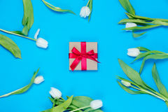 Gift and tulips Royalty Free Stock Image
