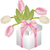 Gift with tulis Royalty Free Stock Images