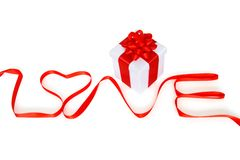 Gift for Valantine's day with word love Stock Image