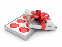 Gift with valentine hearts 3D. Love concept Royalty Free Stock Photos
