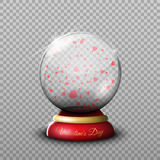 Gift on Valentine`s Day, a transparent glass ball isolated vecto vector illustration