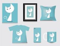 Gift vastgesteld malplaatje, katten leuke stijl Vector Stock Afbeeldingen