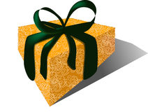 Gift with Velvet Ribbon & Brocade Wrap royalty free stock photos