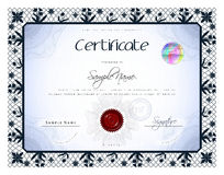 Gift vintage certificate / diploma / award template with protect Royalty Free Stock Photo