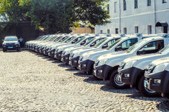 Gift Volynskaiy policemen special cars from the Poles. Venue marketplace Lutsk, Volyn region Ukraine 03.09.15 Stock Photos