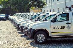 Gift Volynskaiy policemen special cars from the Poles. Venue marketplace Lutsk, Volyn region Ukraine 03.09.15 Stock Photography