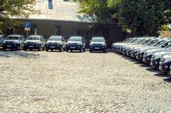 Gift Volynskaiy policemen special cars from the Poles. Venue marketplace Lutsk, Volyn region Ukraine 03.09.15 Royalty Free Stock Photo