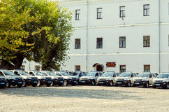 Gift Volynskaiy policemen special cars from the Poles. Venue marketplace Lutsk, Volyn region Ukraine 03.09.15 Royalty Free Stock Image