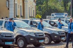 Gift Volynskaiy policemen special cars from the Poles. Venue marketplace Lutsk, Volyn region Ukraine 03.09.15 Royalty Free Stock Photos