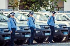 Gift Volynskaiy policemen special cars from the Poles. Venue marketplace Lutsk, Volyn region Ukraine 03.09.15 Stock Image
