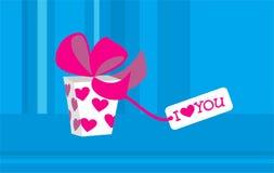 Gift voor de dag van de Valentijnskaart met liefde-massage Stock Afbeelding