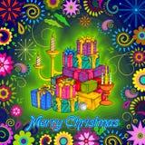 Gift voor Vrolijke de vieringsachtergrond van de Kerstmisvakantie Stock Foto's