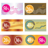 Gift voucher. With different sale stock illustration