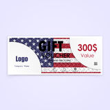 Gift voucher american flag background or certificate coupon temp. Late with clean premium modern pattern design.Independence day symbol.Vector illustration Royalty Free Illustration