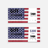 Gift voucher american flag background. Or certificate coupon template with clean premium modern pattern design.Independence day symbol.Vector illustration Royalty Free Illustration