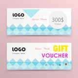 Gift voucher background or certificate coupon template Stock Photos
