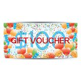 Gift voucher with balls and cofetti. Stock Images