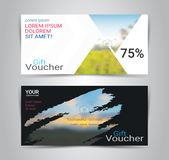 Gift voucher card or banner web template with blurred background. Gift certificates and vouchers, discount coupon or banner web template with blurred background Royalty Free Stock Image