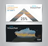 Gift voucher card or banner web template with blurred background. Gift certificates and vouchers, discount coupon or banner web template with blurred background Stock Photography