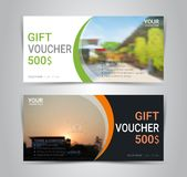 Gift voucher card or banner web template with blurred background. Gift voucher card or banner web template with blurred background gradient mesh for make an Stock Photography