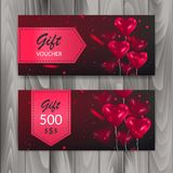 Gift Voucher Card Set. Template with colorful balloons. Vector illustration vector illustration