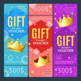 Gift Voucher Card Set Template Monetary Value Coupon. Vector. Gift Voucher Card Set Template Monetary Value Coupon with a Crown Symbol of Luxury. Vector Stock Photos
