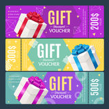 Gift Voucher Card Set Template Monetary Value Coupon. Vector. Gift Voucher Card Set Template Monetary Value Coupon with Present Box and Ribbon. Vector Royalty Free Stock Images