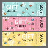 Gift Voucher Card Set Template Monetary Value Coupon. Vector. Gift Voucher Card Horizontal Set Template Monetary Value Coupon Geometric Shapes in Trendy Design Royalty Free Stock Images